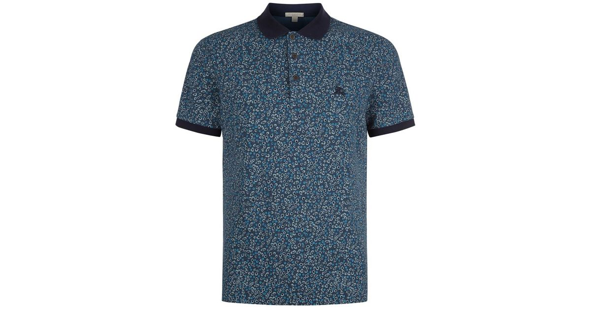 Burberry Micro Floral Polo Shirt In Blue For Men Lyst