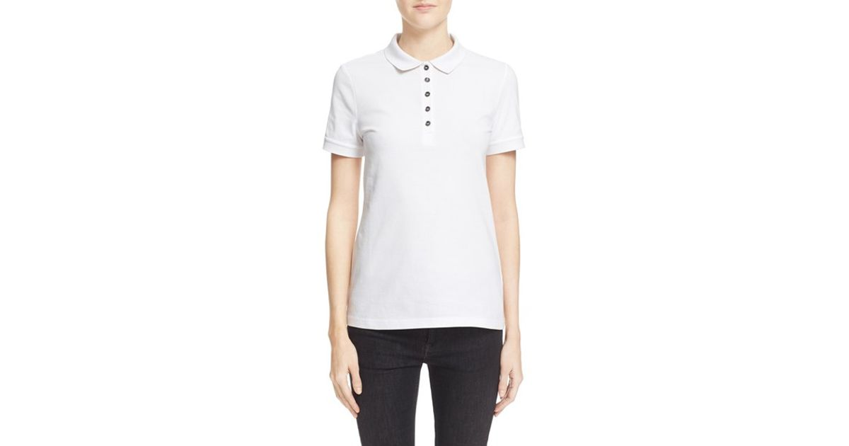 Burberry Brit Check Trim Pique Polo Shirt In Pink Lyst