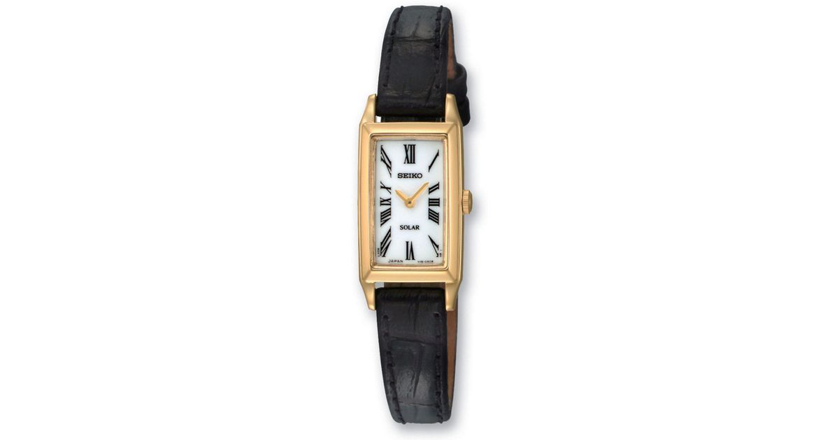 Seiko Ladies Goldtone Black Leather Dress Watch Lyst