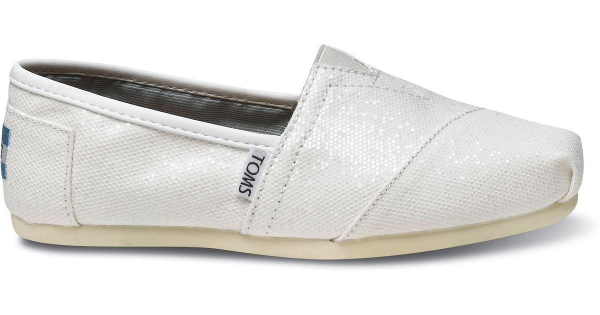 white wedding shoes flats toms bridal white glitter women s classics in white lyst 1369