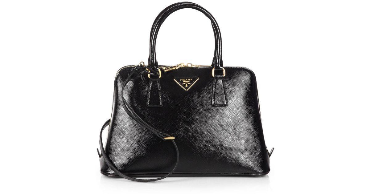 ad8ec21637b4 Prada Saffiano Vernice Small Promenade Bag in Black - Lyst