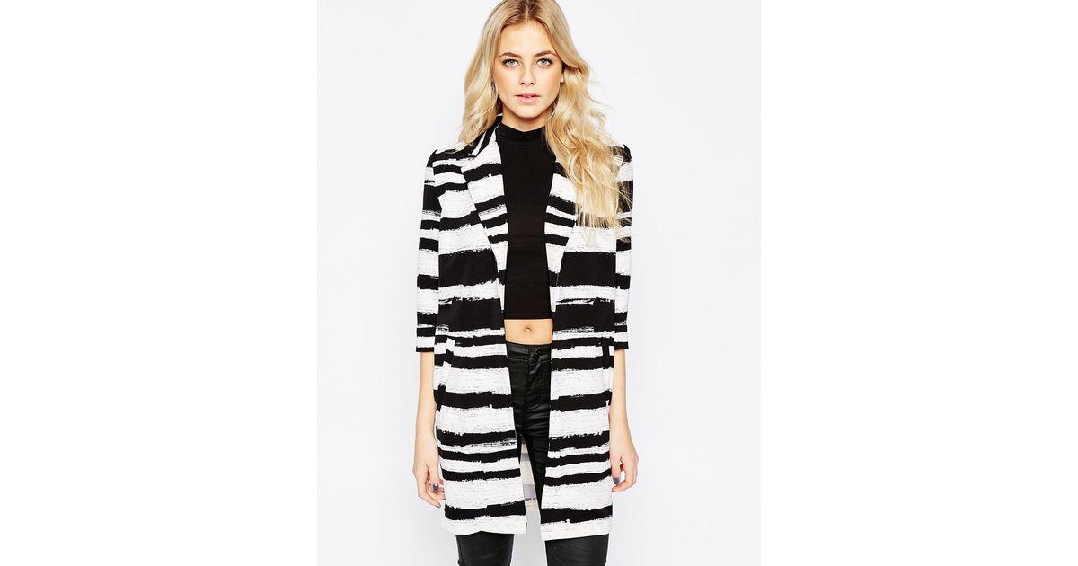 Girls on film Jacket In Brushstroke Stripe in Black | Lyst