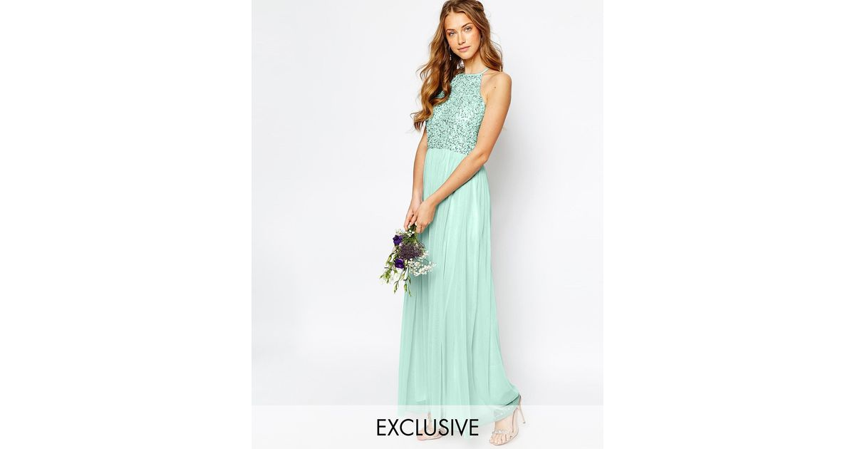 a5c3913c42 La Perla High Neck Maxi Tulle Dress With Tonal Delicate Sequins in Green -  Lyst