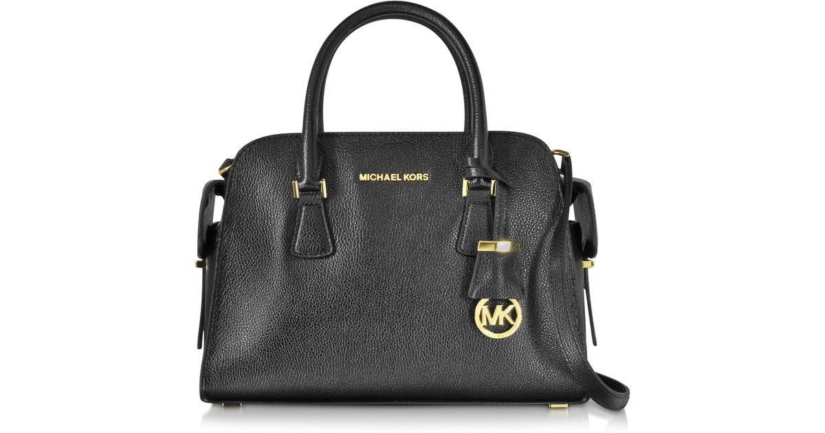 7d7b1cdb7c52 Lyst - Michael Kors Harper Black Glazed Ranch Leather Medium Satchel Bag in  Black