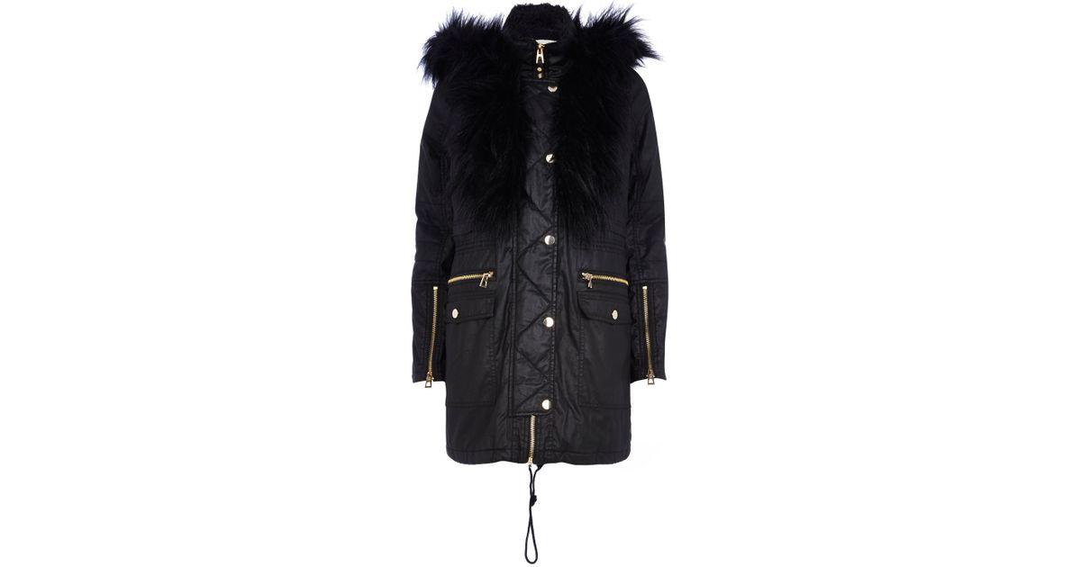 1a0902dfe5c2 River Island Black Waxed Cotton Faux Fur Trim Parka Jacket in Black for Men  - Lyst