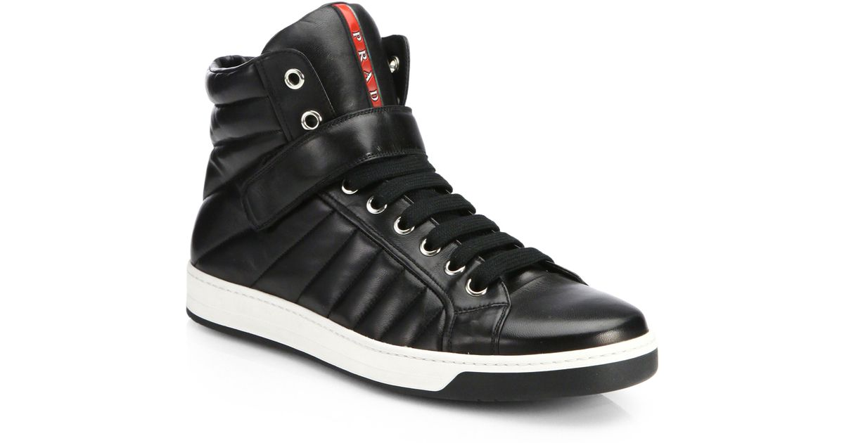 154be49daf Prada Nappa Leather High-top Sneakers in Black for Men - Lyst