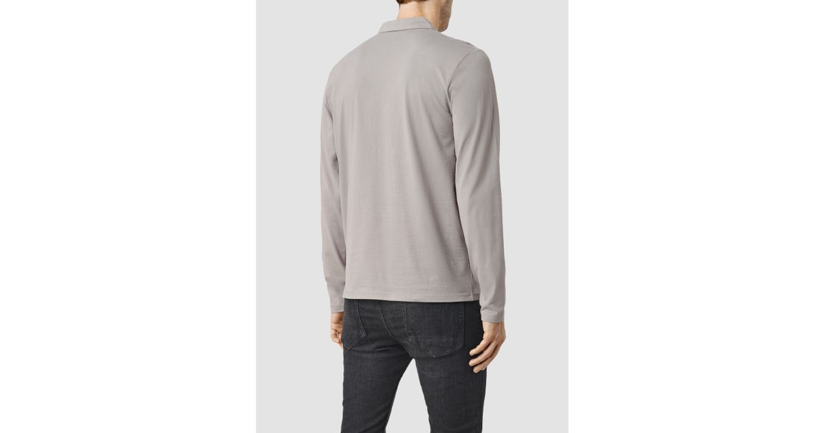 Lyst allsaints brace long sleeve polo shirt in gray for men for All saints polo shirt