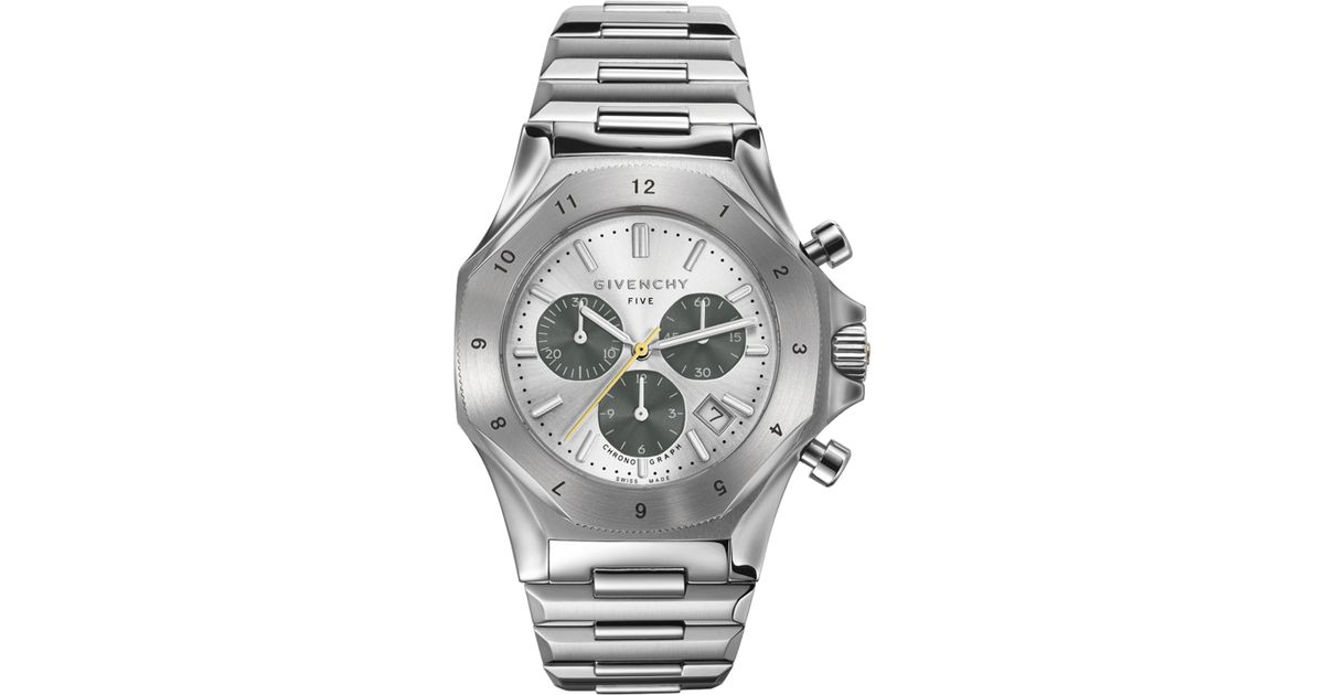 Givenchy five stainless steel chronograph watch in metallic for men lyst for Givenchy watches