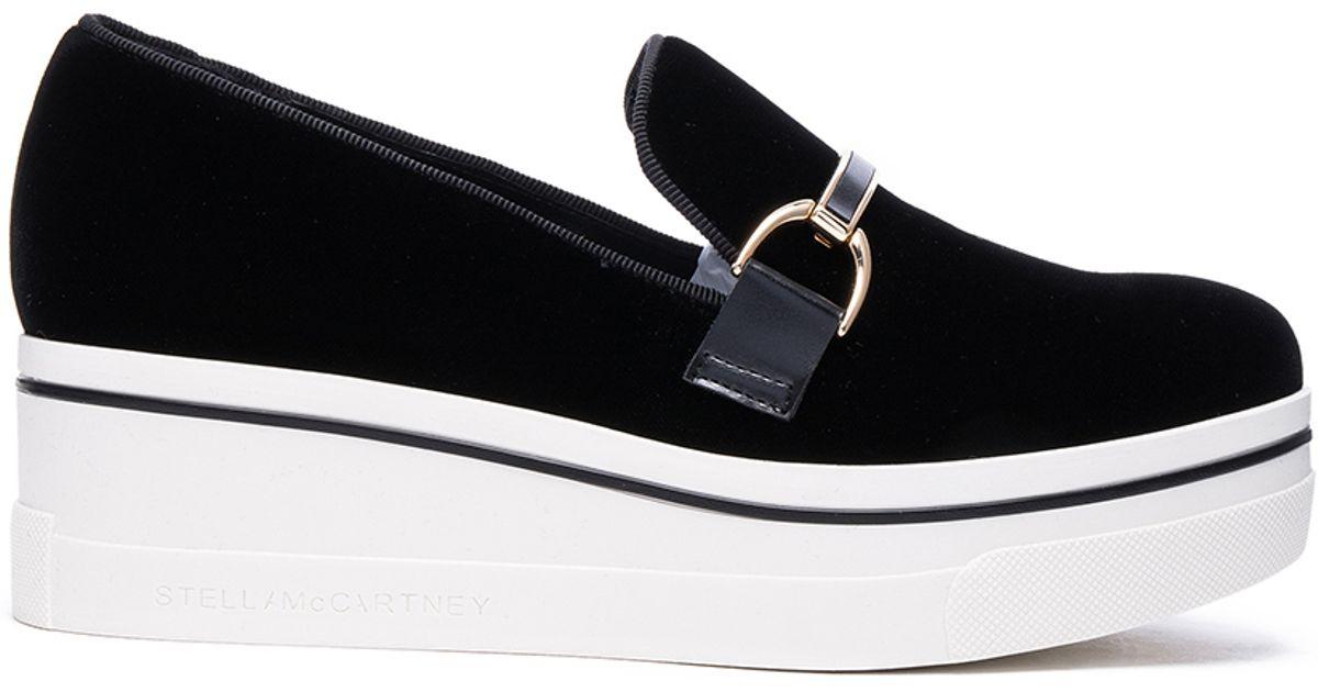3b51715d626 Lyst - Stella McCartney Binx Velvet Platform Loafers in Black