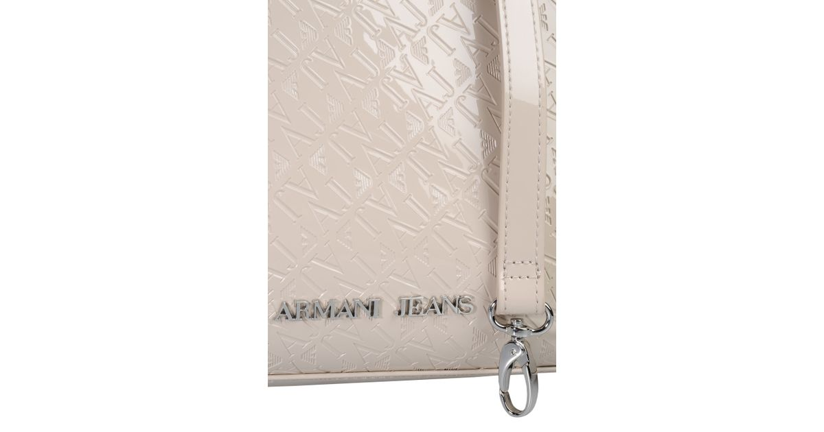 95c25076e6 Lyst - Armani Jeans Bauletto Bag In Patent Faux Leather With All-Over Logo  in Natural