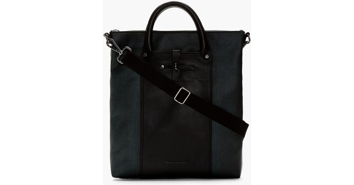 Lyst - Diesel Black Gold Green Leather and Canvas Millard Tote in Green for  Men cb59b52174845