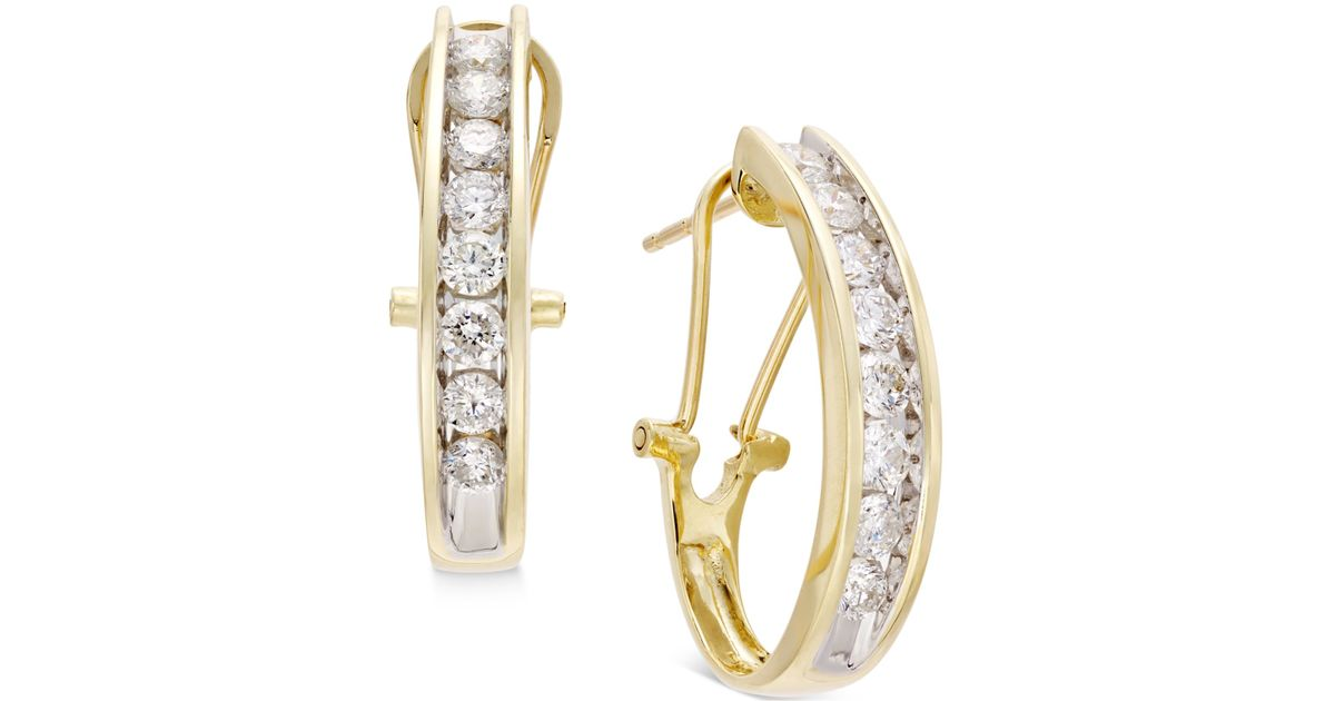 Carat Diamond Hoop Earrings Yellow Gold