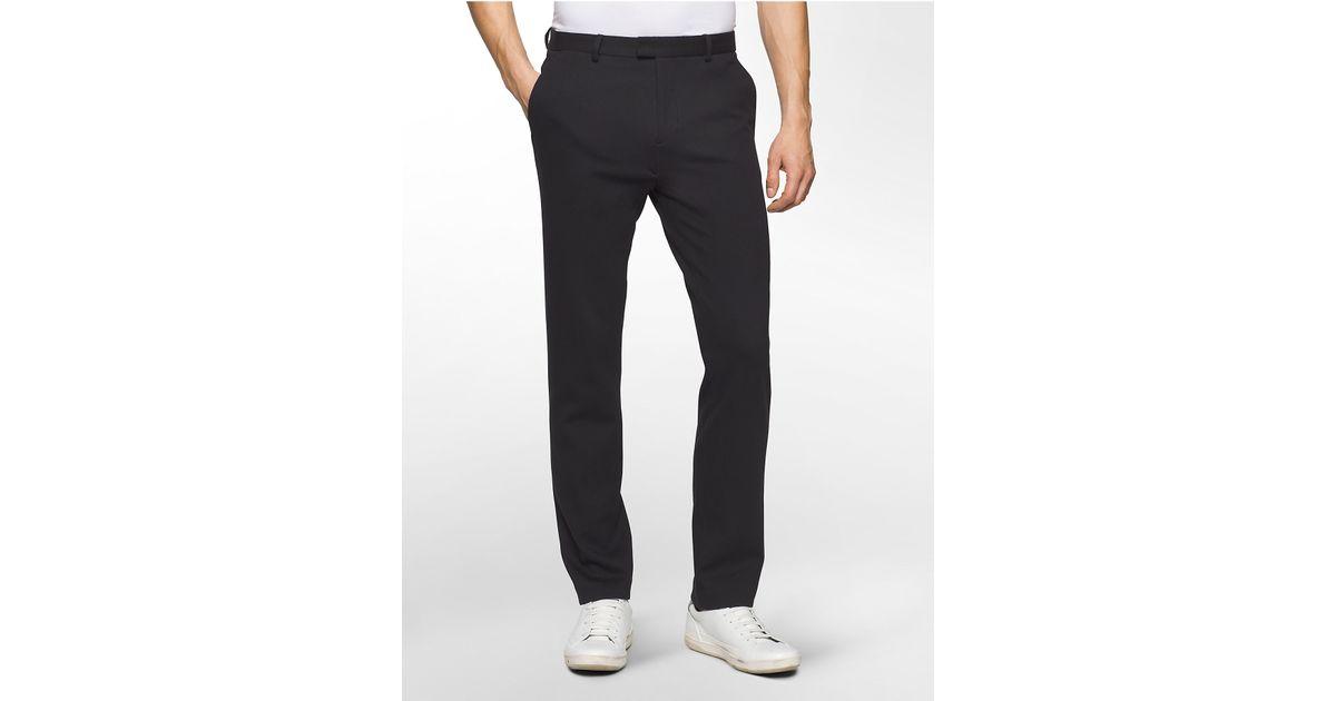 Calvin klein Slim Fit Ponte Knit Dress Pants in Black for Men | Lyst