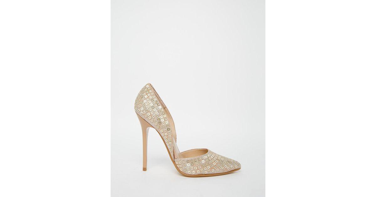 62a5bf8967b Steve Madden - Metallic Varcity Gold Sequin Heeled Court Shoes - Lyst