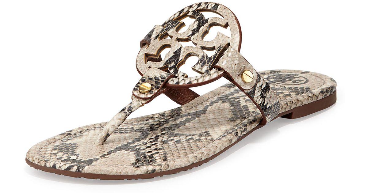 07b05a3fcf4872 Lyst - Tory Burch Miller Lizardprint Leather Thong Sandals in Natural