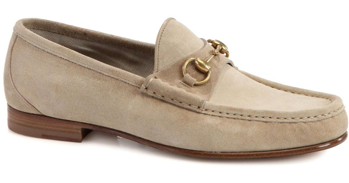 d8f4c0bb173 Lyst - Gucci Roos Suede Horsebit Loafers in Natural for Men