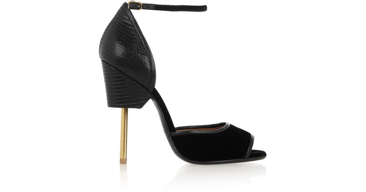 88615c33462 Lyst - Givenchy Matilda Sandals In Black Lizard-Effect Leather And Velvet  in Black