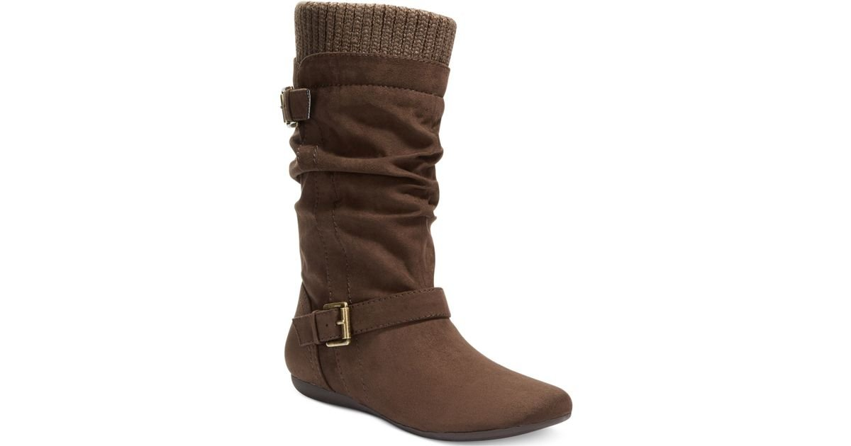 report everton slouchy sweater boots in brown lyst