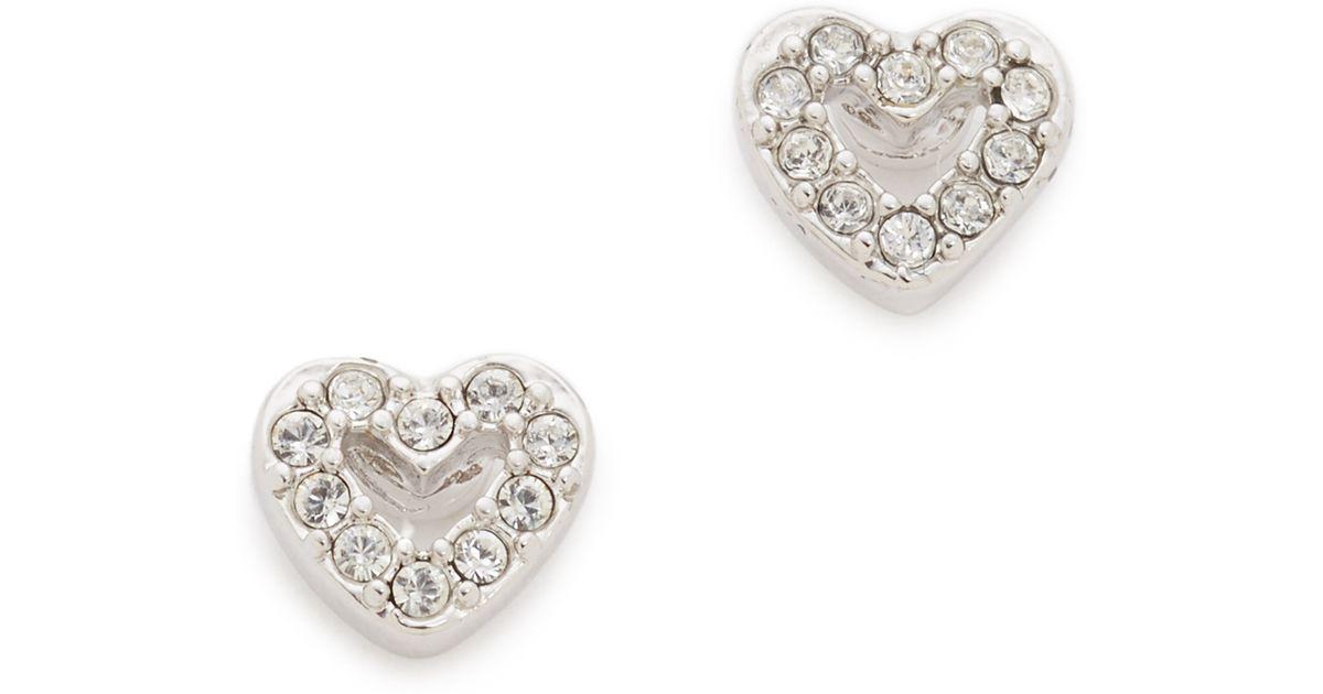 Lyst Kate Spade New York Love List Pave Open Heart Studs Earrings In Metallic