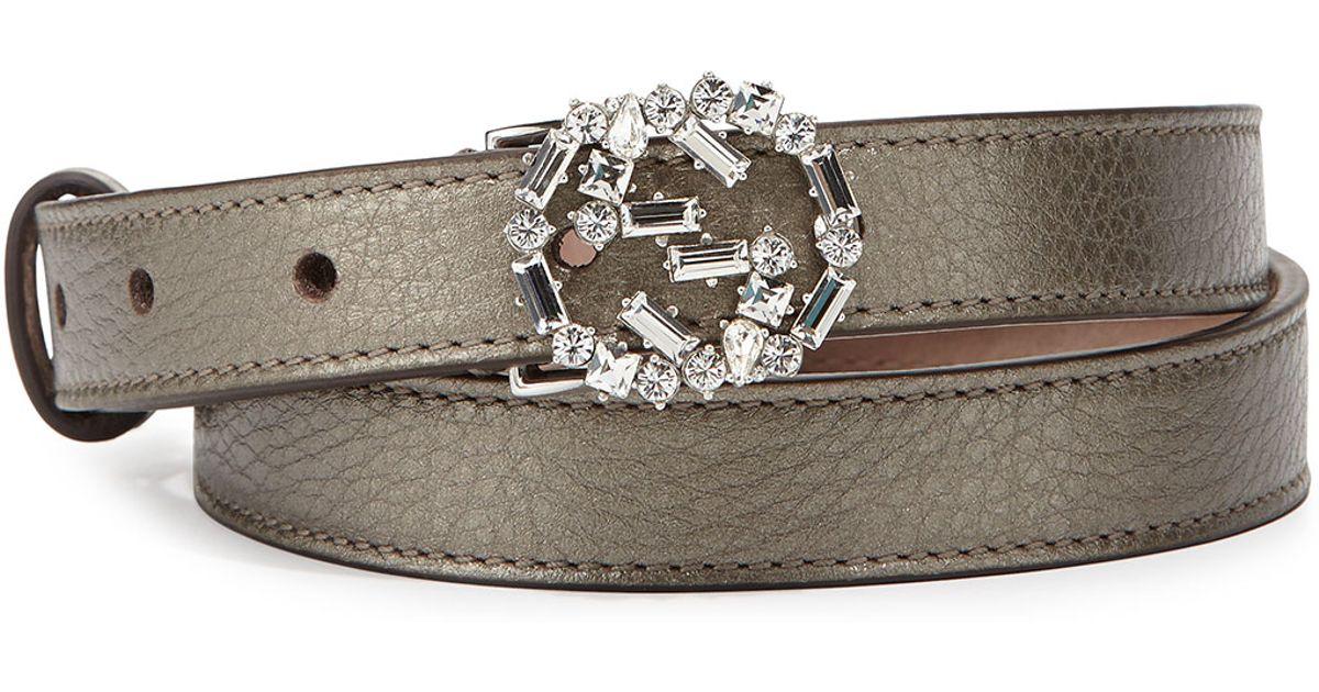 55bed8e6415 Lyst - Gucci Crystal-Gg-Buckle Skinny Belt in Metallic