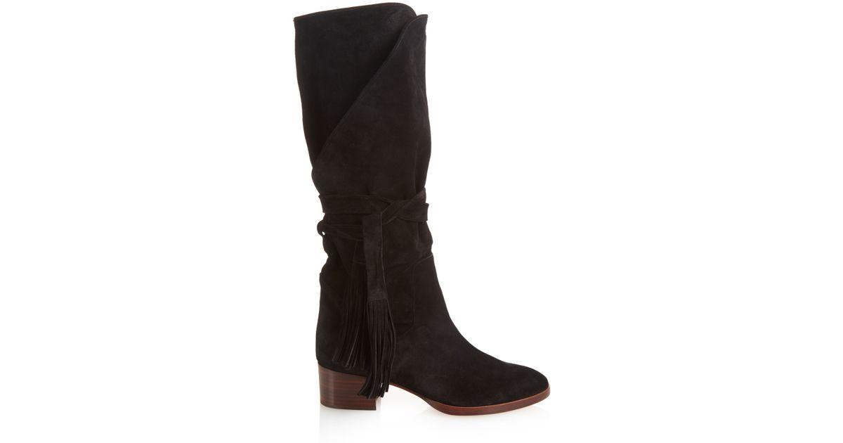 chlo 233 tassel detail suede knee high boots in black lyst