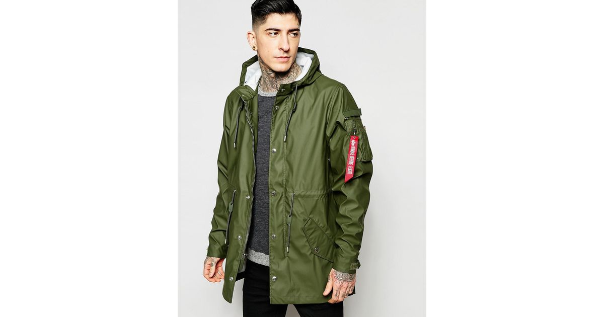 alpha industries rubber parka in green in green for men lyst. Black Bedroom Furniture Sets. Home Design Ideas