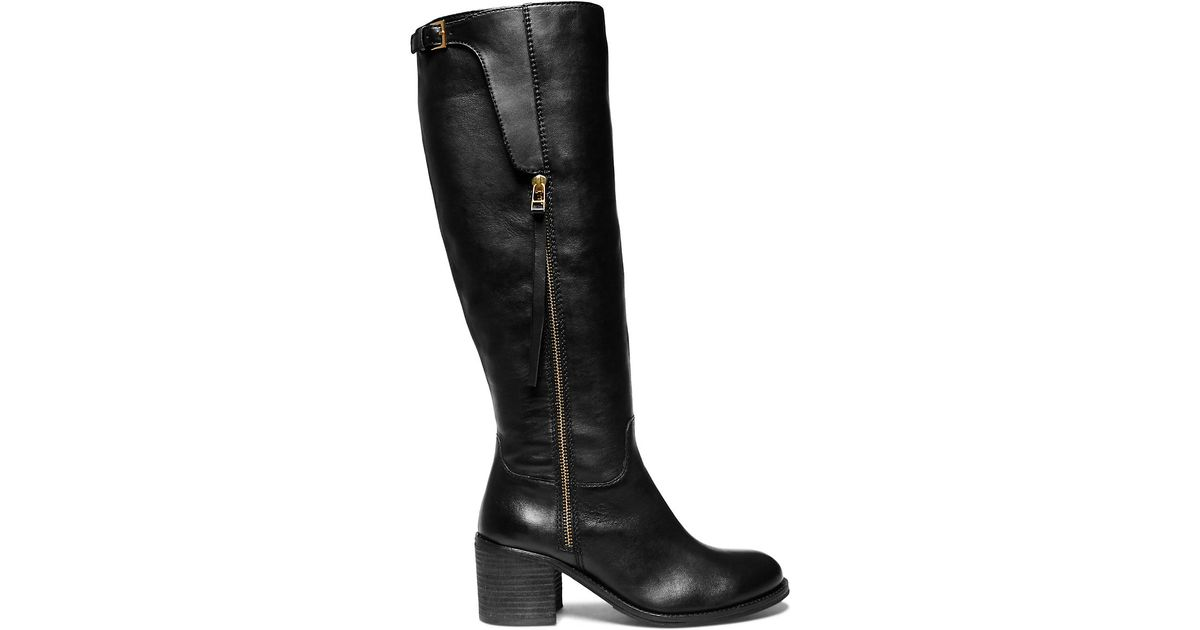 steve madden antsy knee high leather boots in black save