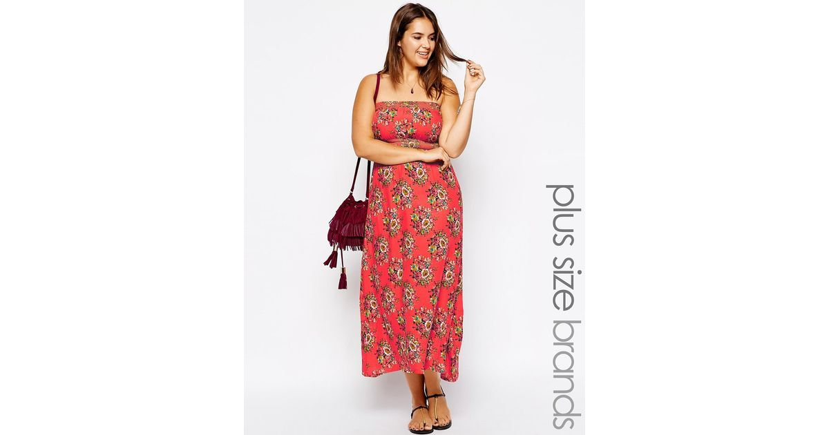 Lyst Ax Paris Plus Size Strapless Maxi Dress In Floral Print In Pink