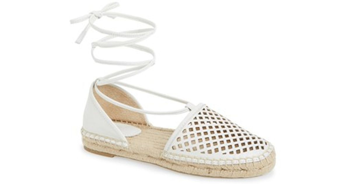 cbe95bb3a3cc Lyst - Frye Leo Perforated Ankle Wrap Espadrille Flat in White