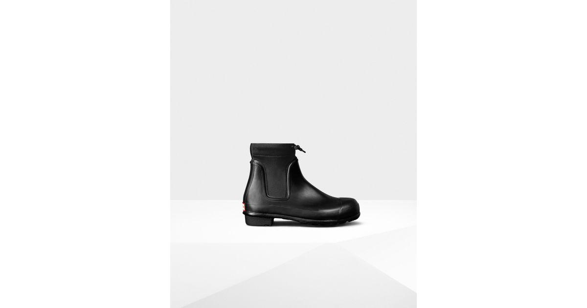 55e4882aeb0 HUNTER Women's Original Drawstring Chelsea Boots in Black - Lyst