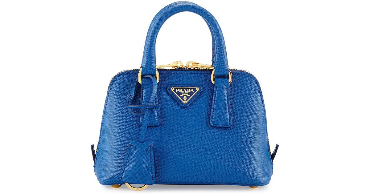 40079a838b8b ... discount code for lyst prada mini saffiano promenade bag in blue 52a2a  1e825 ...