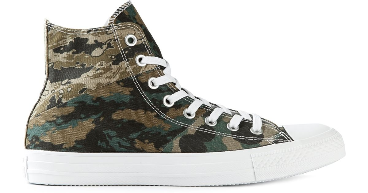 3c52f3a57b99 Lyst - Converse Camouflage Print Hitop Sneakers in Green for Men