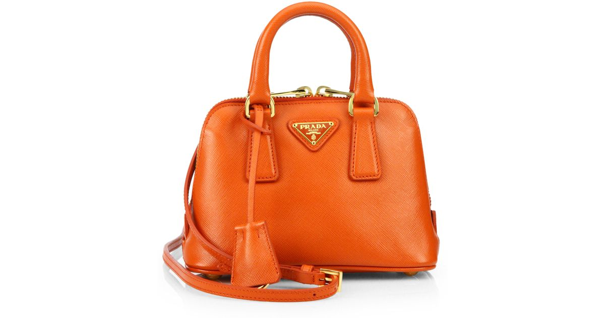 4c8ce635648f ... get lyst prada saffiano lux double handle mini satchel in orange 2e8b2  17357