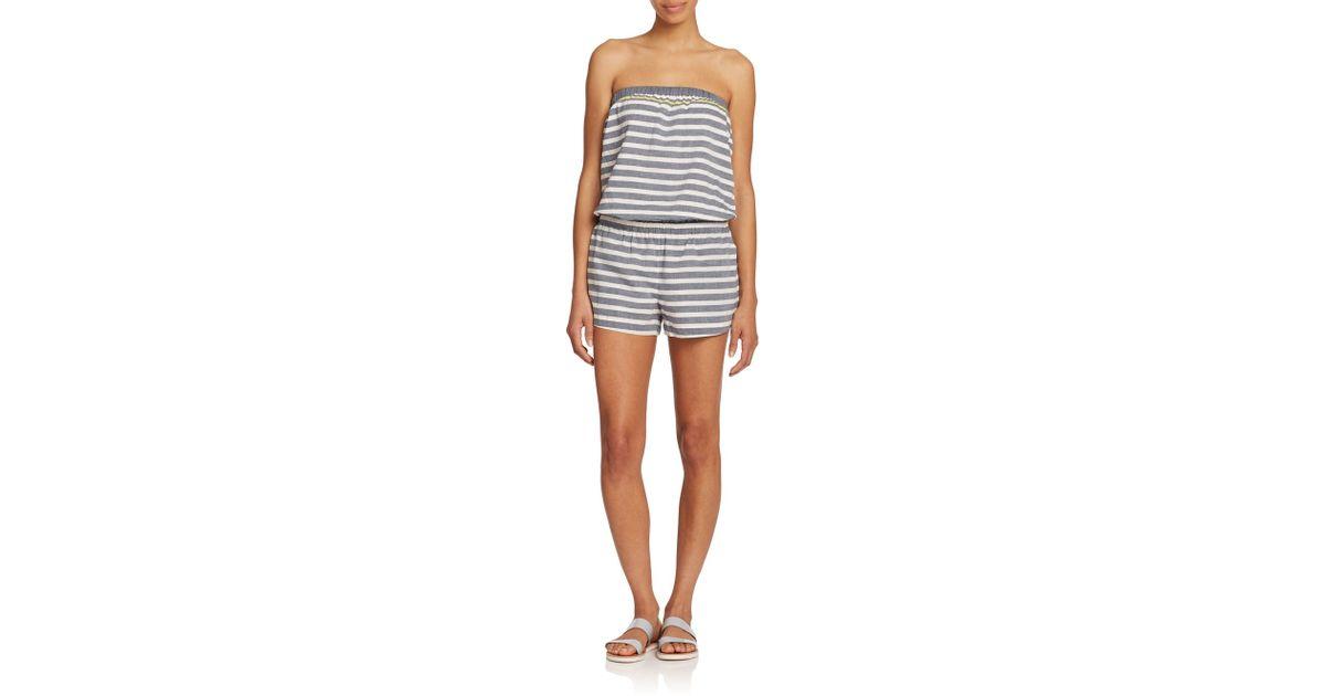 0fdd7937038c Lyst - Soft Joie Gidget Striped Strapless Short Jumpsuit in Blue