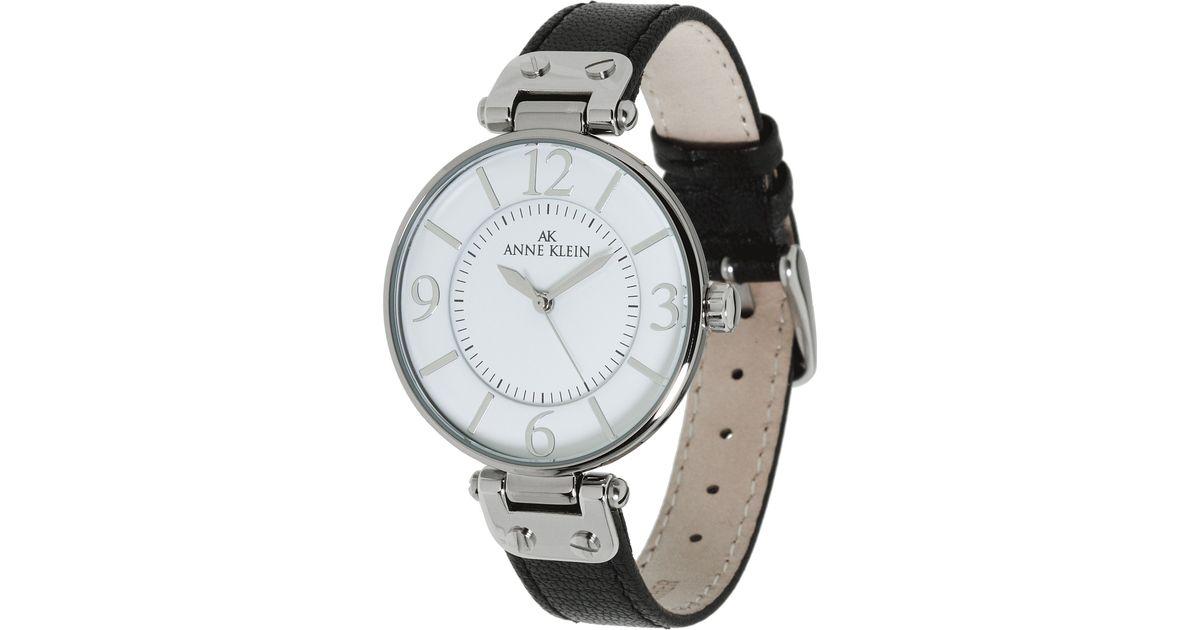 Anne klein 109169wtbk round dial leather strap watch in black lyst for Anne klein leather strap