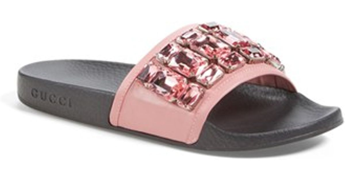 Lyst - Gucci Pursuit Embellished-Leather Sandals in Pink