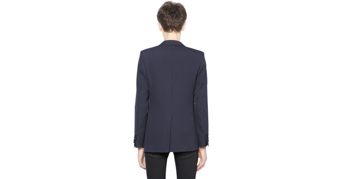 Lyst Saint Laurent Light Wool Gabardine Smoking Jacket In Blue For Men