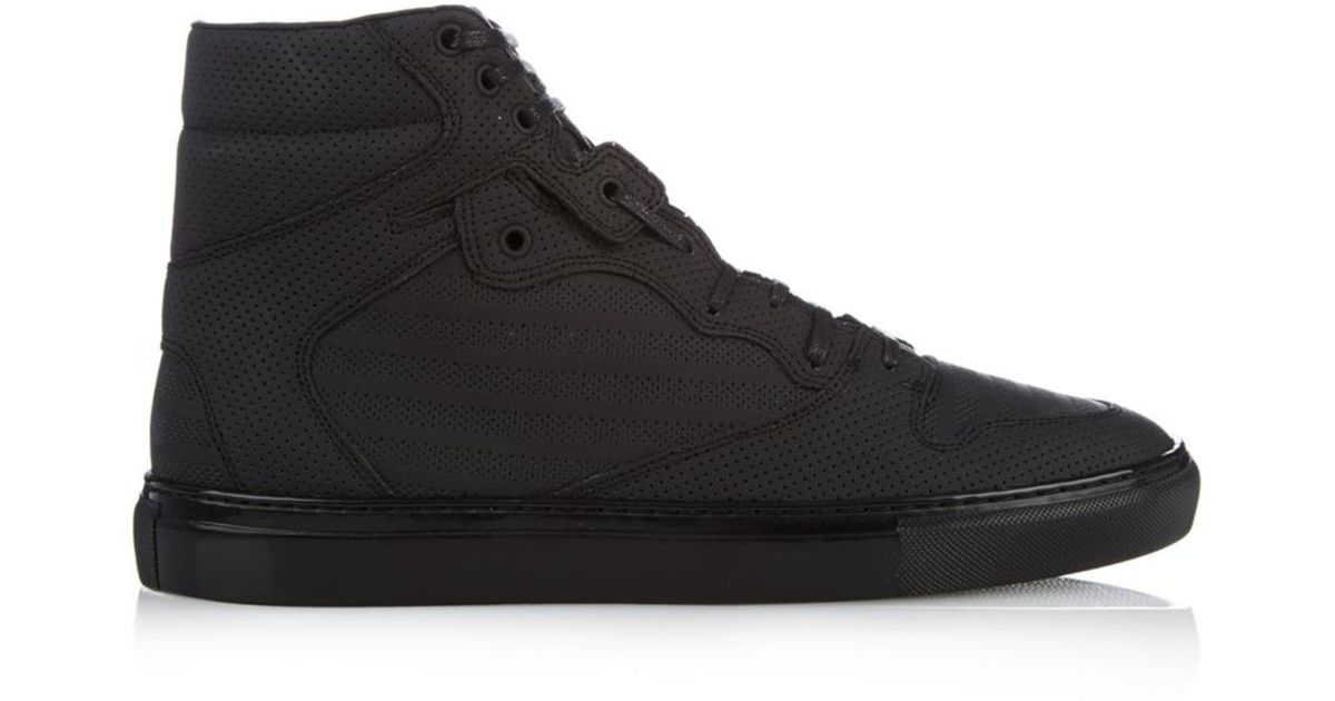 e77a185eb424c Lyst - Balenciaga Monochrome Perforated High-Top Trainers in Black for Men