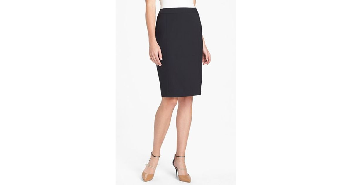 lafayette 148 new york stretch wool pencil skirt in black