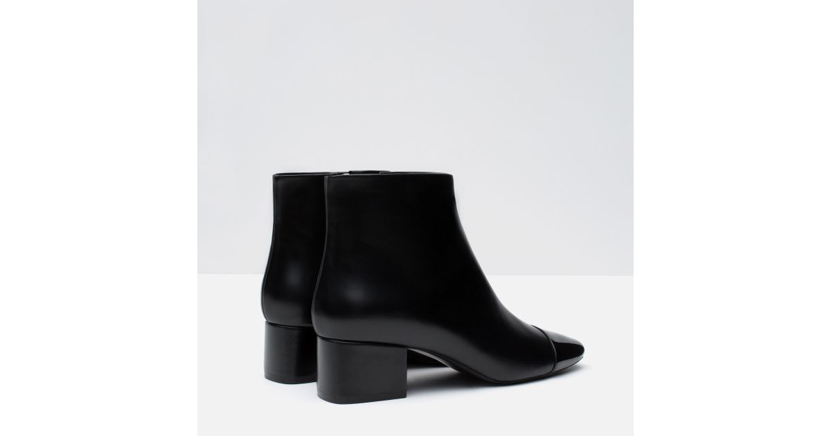 zara cap toe ankle boot in black