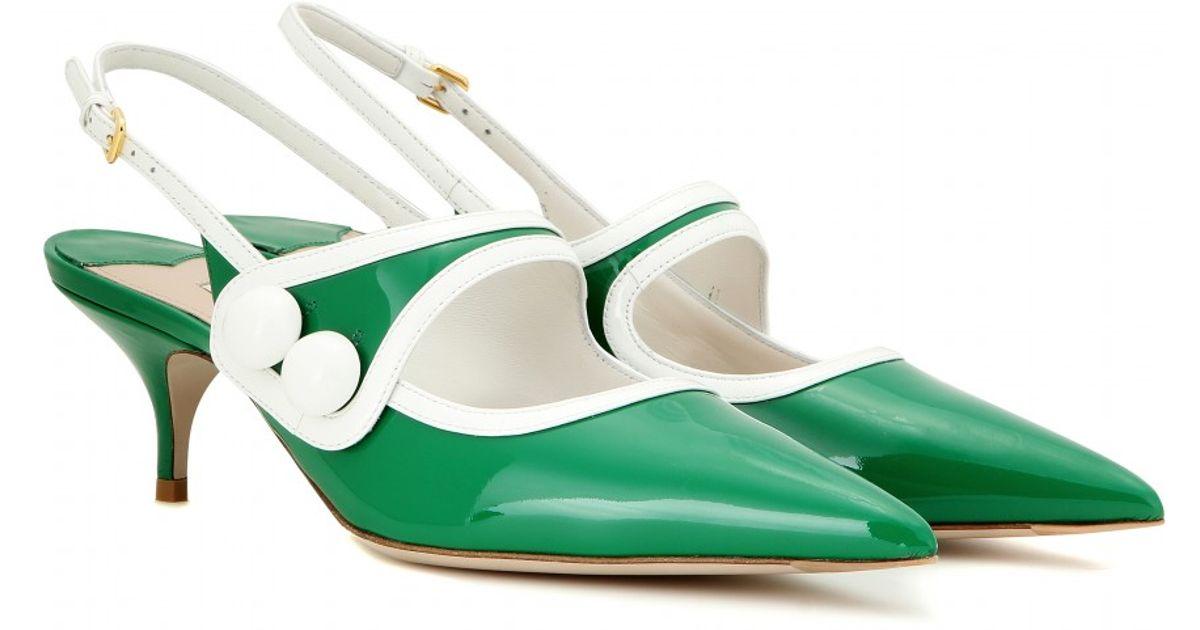 Lyst - Miu miu Patent Leather Slingback Kitten-heel Pumps in Green