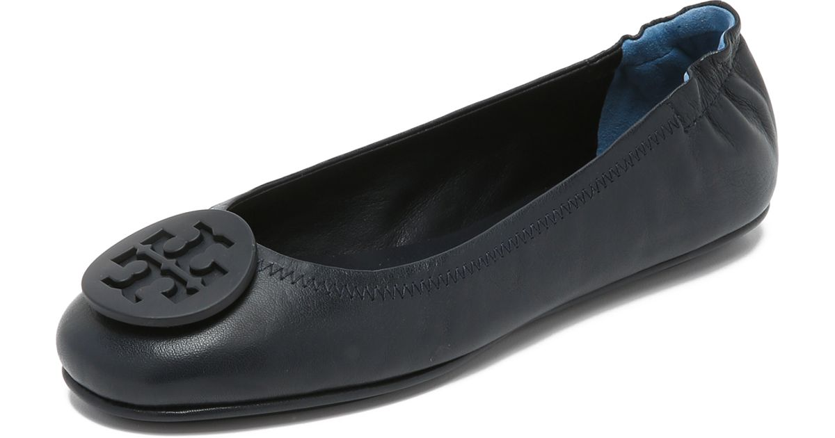 dba39044e1286d ... best lyst tory burch minnie travel ballet flats in blue 67c17 ff67e