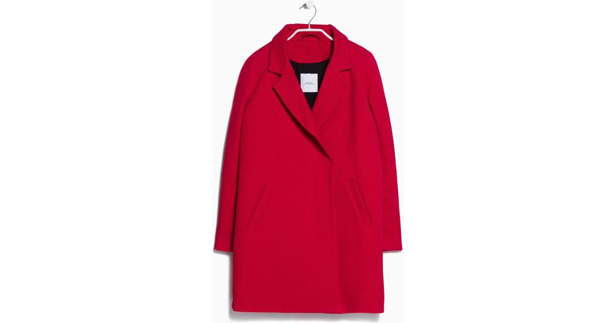 Mango Lapel Shift Coat in Red | Lyst