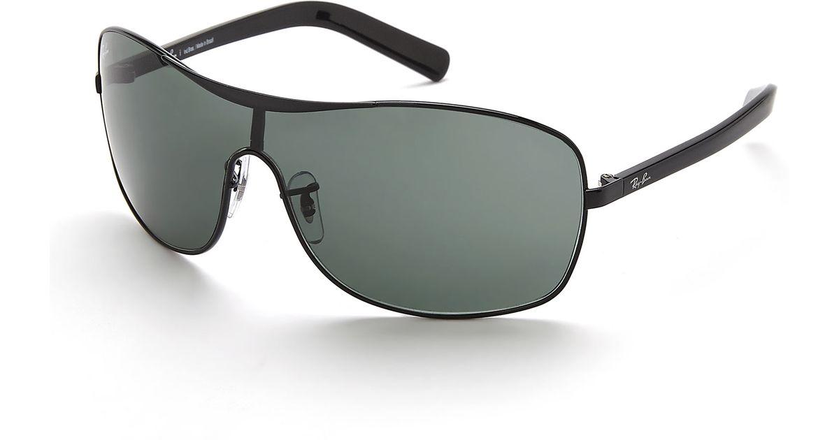 ae1b01f384 Lyst - Ray-Ban Black Rb3469L Shield Sunglasses in Black