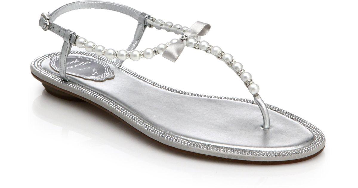 6ed6c3cb9 Lyst - Rene Caovilla Pearl And Rhinestone Metallic Leather Sandals in  Metallic