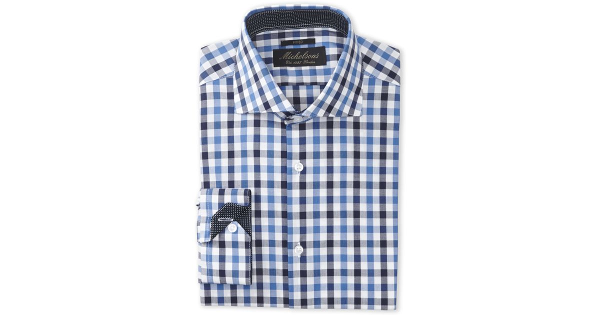 Michelsons of london blue navy gingham fitted dress for Navy blue checkered dress shirt
