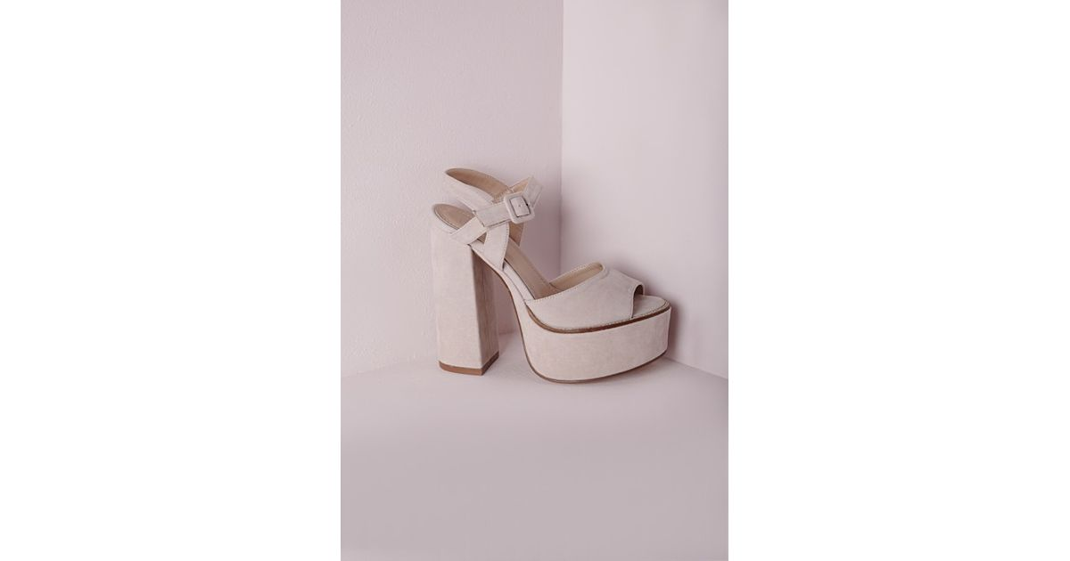 ad8b8bec9cb6 Missguided 70 s Platform Block Heel Sandals Nude in Natural - Lyst