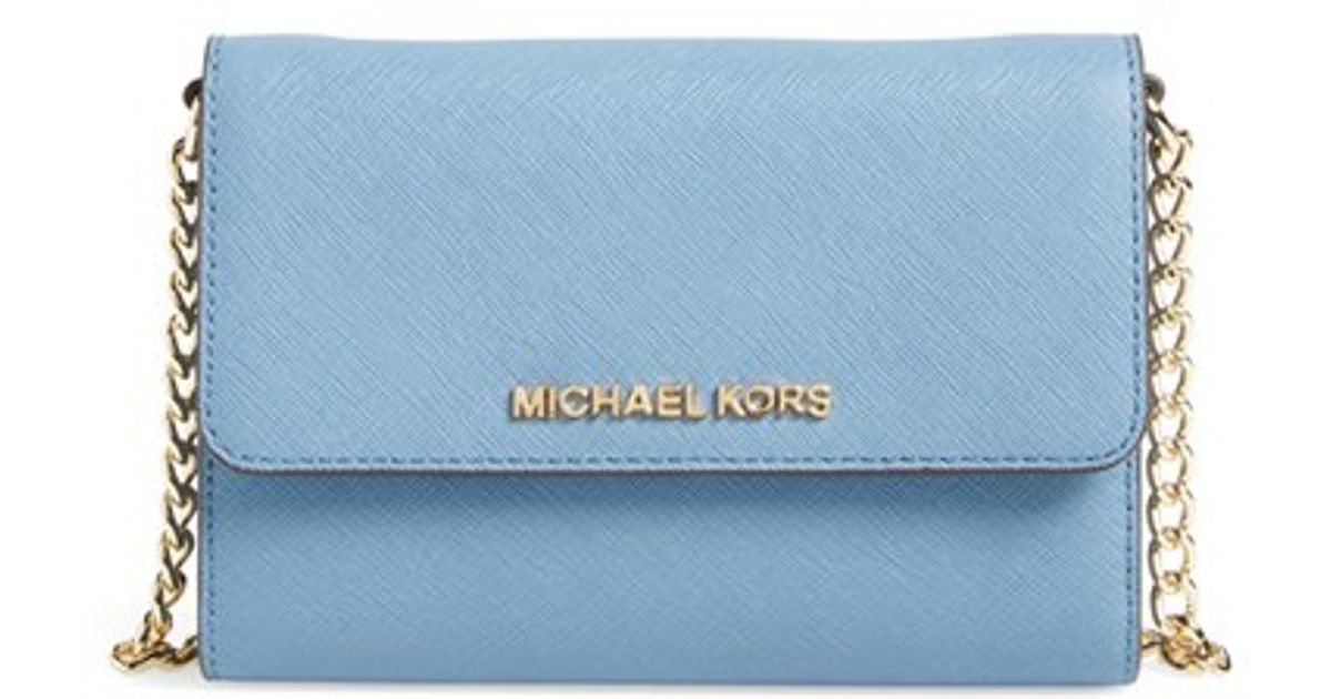 99080a8b275e MICHAEL Michael Kors 'jet Set - Large Phone' Saffiano Leather Crossbody Bag  in Blue - Lyst