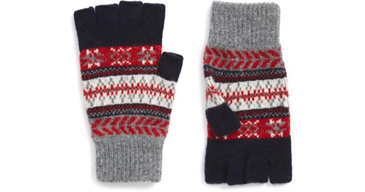 Barbour Fair Isle Fingerless Wool Gloves in Blue | Lyst