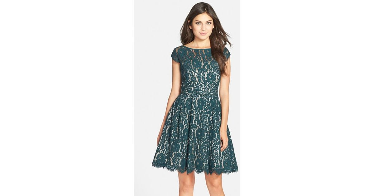 61c4a887d Eliza J Cap Sleeve Lace Fit & Flare Dress in Green - Lyst
